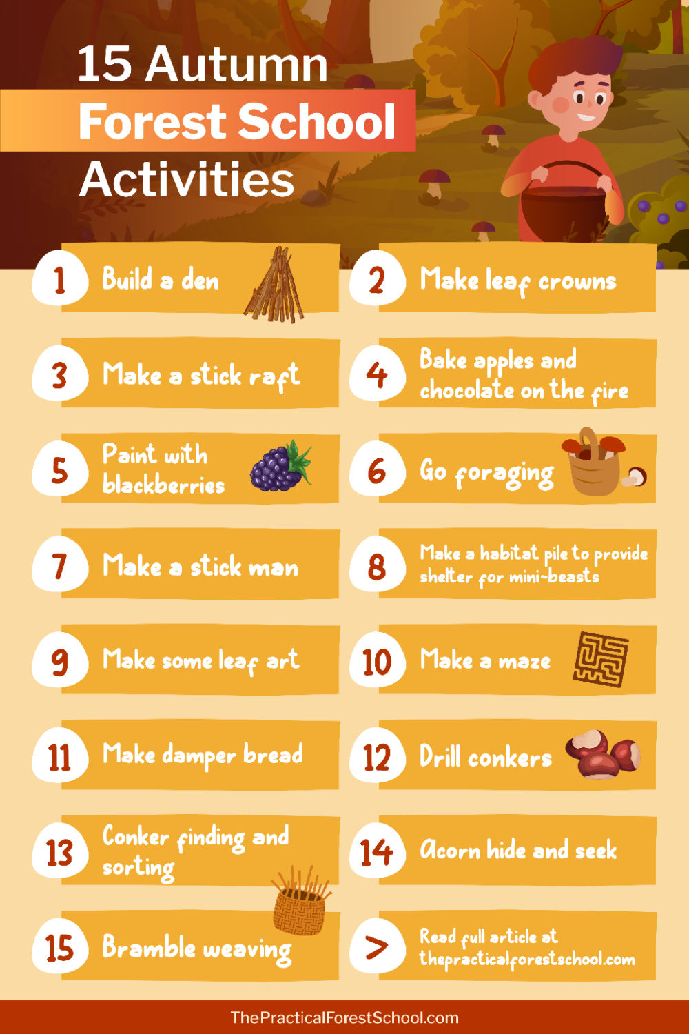 List of activities for forest school in autumn